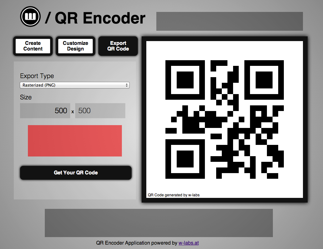 Encoder Export Type Size 500 Get Your Code Code generated Encoder Application powered