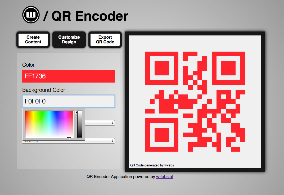 Encoder Color FF1736 Background Color FOFOFO LJII Encoder Application powered